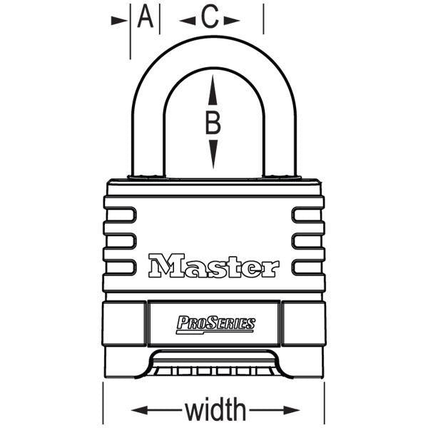 Master Lock 1175D ProSeries® Brass Resettable Combination Padlock 2-1/4in (57mm) Wide-Combination-LockPeople.com