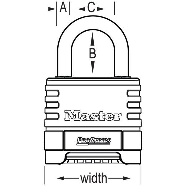 Master Lock 1175D 2-1/4in (57mm) Wide ProSeries® Brass Resettable Combination Padlock with 2-1/16in (53mm) Shackle