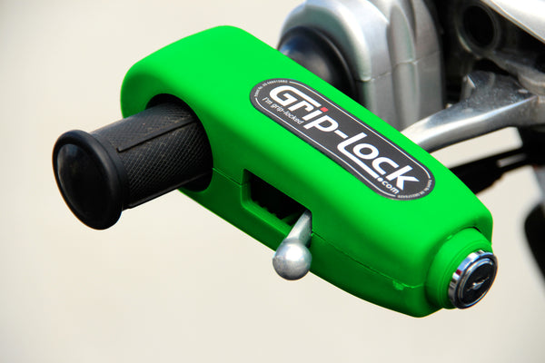 Grip-Lock throttle grip and brake lever lock - Motorcycle Motorbike Scooter Portable Anti-theft Handlebar Security safety Lock - Green