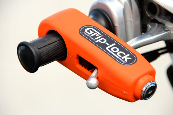 Grip-Lock throttle grip and brake lever lock - Motorcycle Motorbike Scooter Portable Anti-theft Handlebar Security safety Lock - Orange