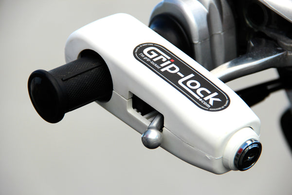 Grip-Lock throttle grip and brake lever lock - Motorcycle Motorbike Scooter Portable Anti-theft Handlebar Security safety Lock - White