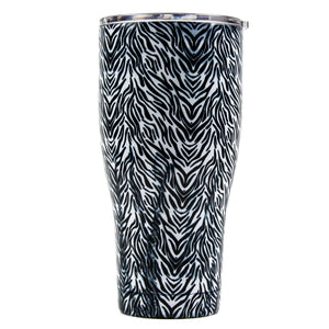 Tumbler 30oz: Double Wall Stainless Steel Cup - Zebra