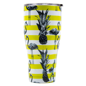 Tumbler 30oz: Double Wall Stainless Steel Cup - Pineapple