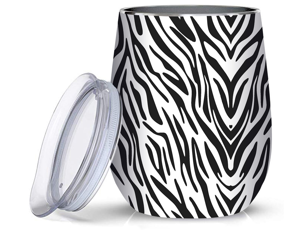 Stainless Steel 12oz Wine Tumbler:  Zebra