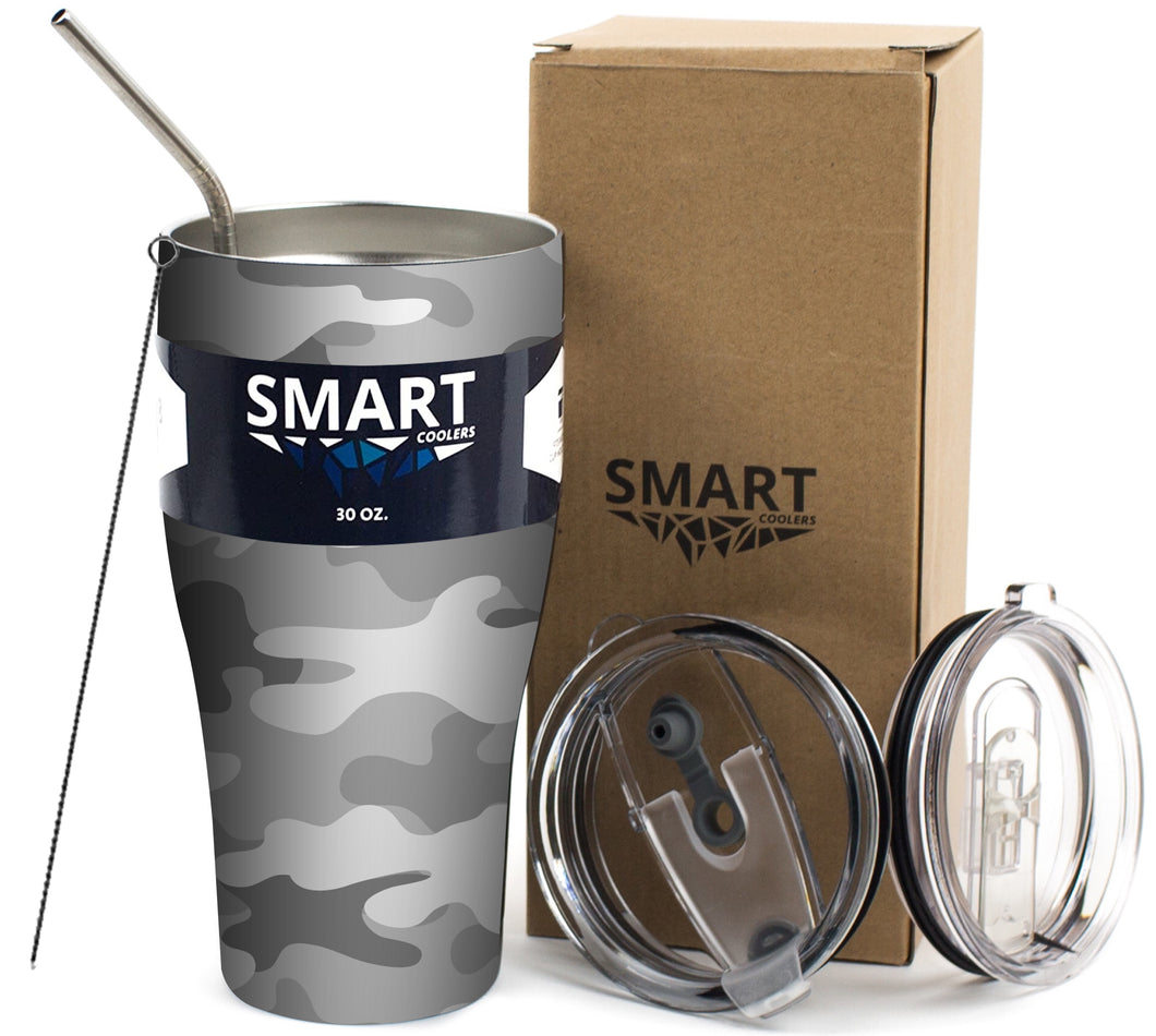 Tumbler 30oz: Double Wall Stainless Steel Cup - Light Grey Camo