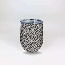 Load image into Gallery viewer, Stainless Steel 12oz Wine Tumbler:  Grey Animal Print