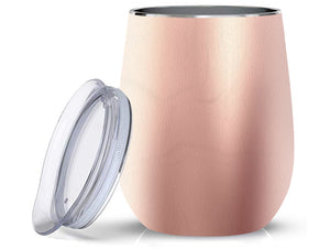 Stainless Steel 12oz Wine Tumbler:  Rose Gold