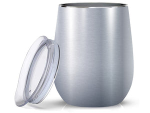 Stainless Steel 12oz Wine Tumbler:  Silver