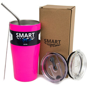 Tumbler 20oz: Double Wall Stainless Steel Cup Neon Pink