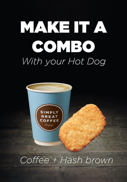 Make it Combo: Cheesy Classic Hot Dog, Coffee with Hashbrown