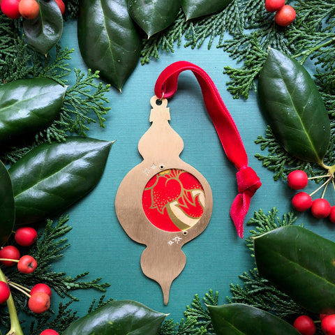 Atomic Keepsake Ornament, Poinsettia