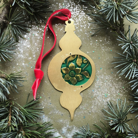 Atomic Keepsake Ornament, Emerald and Gold