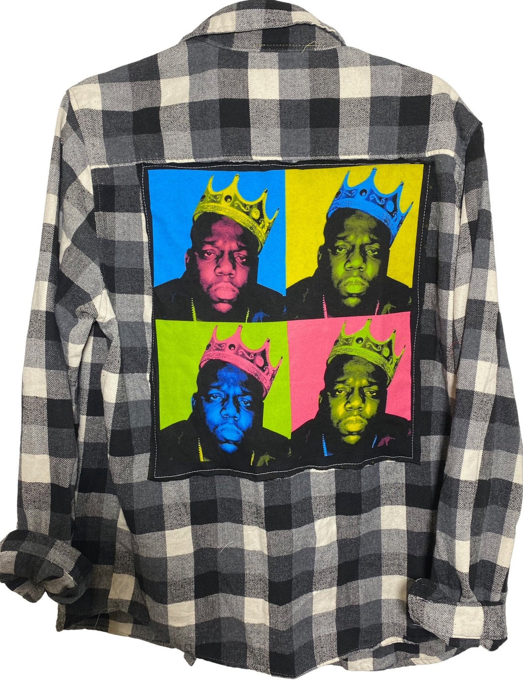 NOTORIOUS BIG VINTAGE ROCK FLANNEL WARHOL SOJARA UPCYCLED