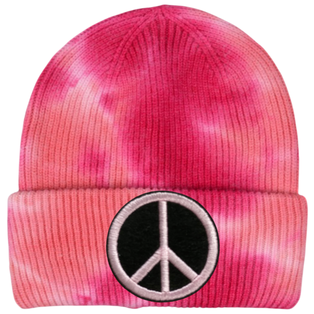 Pink Tie Dye Peace Sign Beanie