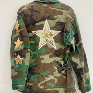 Sequin Gold Star Camo Jacket