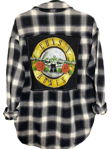 Guns N' Roses Circle Vintage Rock Flannel