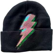 Black Sequin Bolt Beanie
