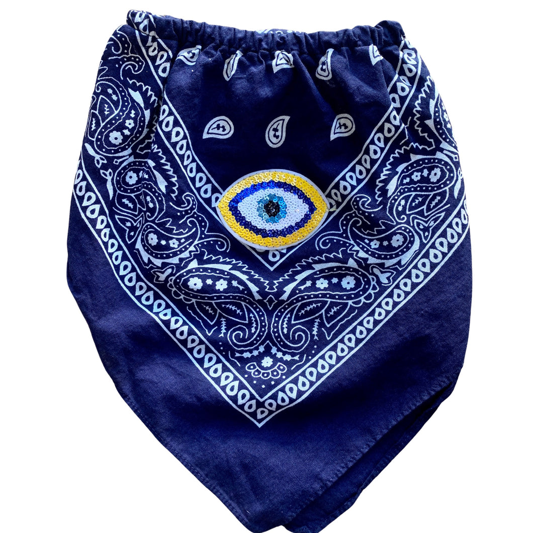 Navy Greek Eye Bandana