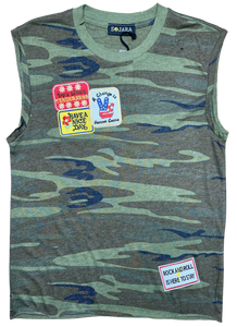 Multi Patched Camo Tank Top