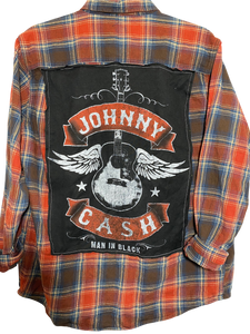 Johnny Cash Guitar Wings Vintage Rock Flannel
