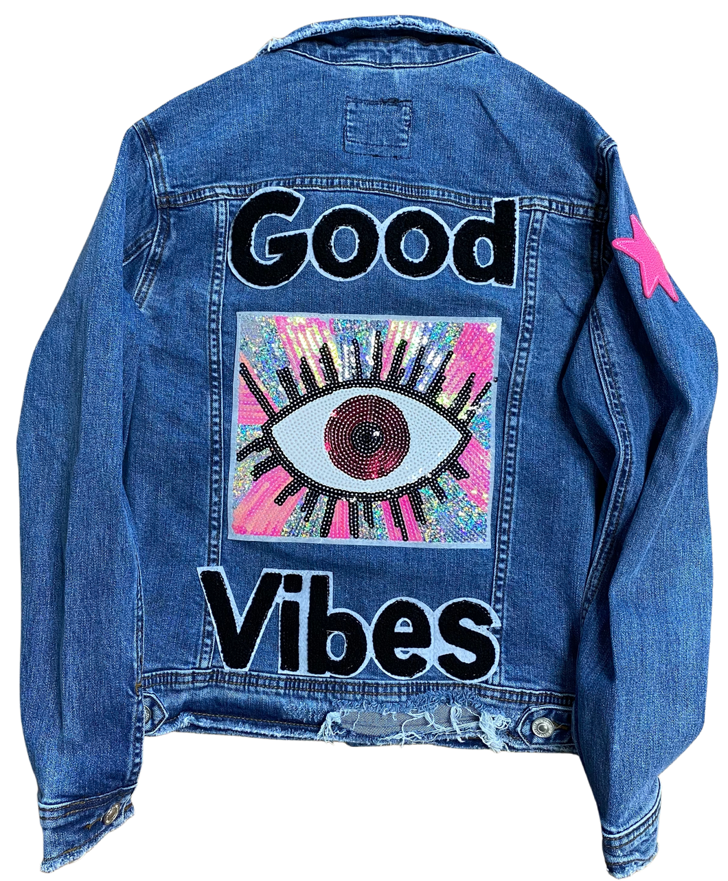 Good Vibes Eye Inspire Denim Jacket