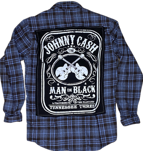 Johnny Cash Man in Black Vintage Rock Flannel