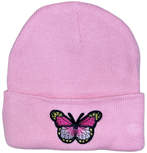 Pink Butterfly Beanie