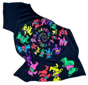 SOJARA Grateful dead neon dancing bears one shoulder t-shirt