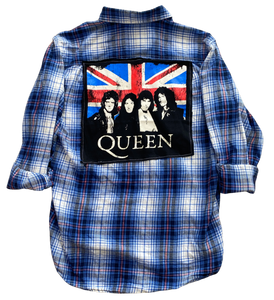 Queen British Flag Vintage Rock Flannel