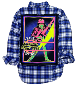 ACDC HIGH VOLTAGE SOJARA VINTAGE ROCK FLANNEL SHIRT NEON  AC/DC
