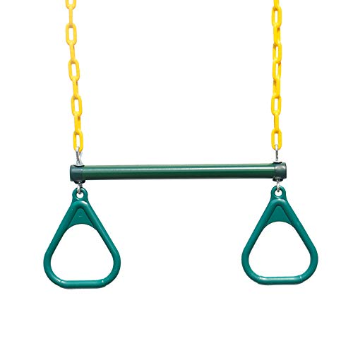 "18"" Trapeze Swing Bar Rings - 48"" Heavy Duty Plastic Coated Chains - Swing Set Accessories with 2 Locking Carabiners"