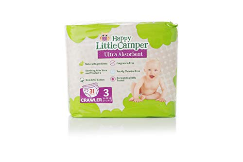 Happy Little Camper Natural Diapers, Flushable Wipes, Monthly Pack, Size 3, 217Count