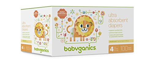 Babyganics Ultra Absorbent Diapers, Size 4, 100 count