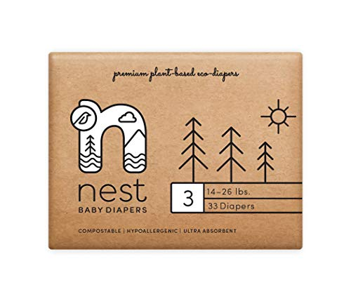 Nest Baby Diapers; Size 3: 14-26 lbs. 132 Count case– Premium Eco Diapers for Sensitive Skin, Made of Sustainable Plant Based Materials, and Fragrance Free