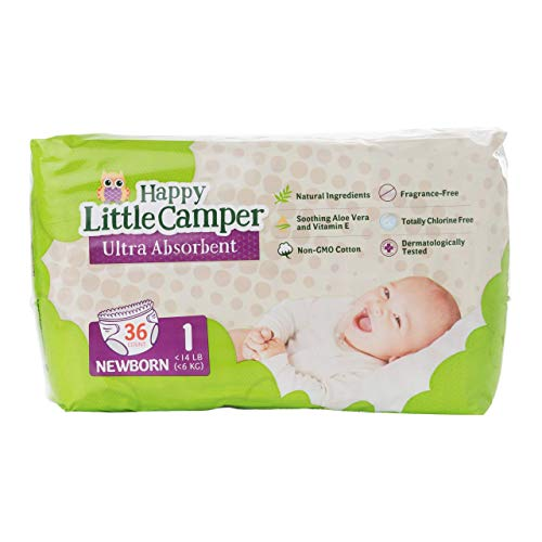 Happy Little Camper x Hilary Duff Ultra-Absorbent Hypoallergenic Natural Baby Diapers with Bio-Core Blend and Strong Latex and Chlorine-Free Protection, Size 1, 36 Count