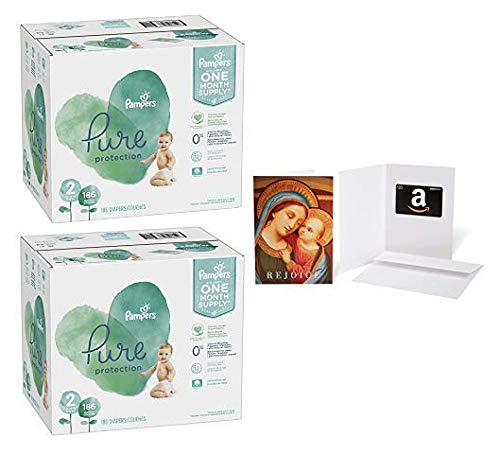Size 2, 186 Count - Pampers Pure Disposable Baby Diapers, Hypoallergenic and Fragrance Free Protection (2 Qty) with Amazon.com $20 Gift Card in a Greeting Card (Madonna with Child Design)
