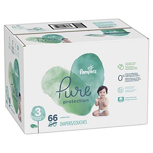 Diapers Size 3, 66 Count - Pampers Pure Disposable Baby Diapers, Hypoallergenic and Unscented Protection, Super Pack
