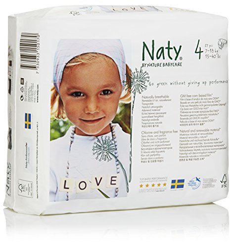 Naty Chlorine-Free ECO Diapers Size 4, 27 Count (Pack of 4)