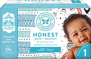 The Honest Company Club Box Diapers with TrueAbsorb Technology, Teal Tribal & Space Travel, Size 1, 80 Count