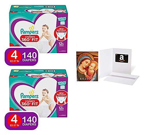 Pampers Pull On Diapers Size 4 - Cruisers 360˚ Fit Disposable Baby Diapers with Stretchy Waistband, 140Count (2 Qty)  with Amazon.com $20 Gift Card in a Greeting Card (Madonna with Child Design)