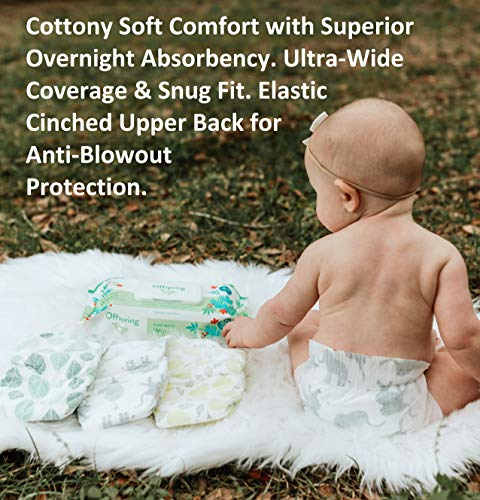 Offspring Disposable Diaper - New - Size 4-5 Eco-Friendly Premium Ultra Soft - Double Leak Guard Technology - Designer Leaf Print - Made with Sustainable Materials (4/5 80 Count)
