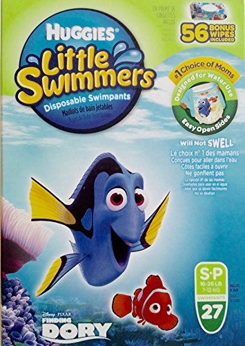 Huggies Little Swimmers Disposable Swimpants, Small, 27 Count - Bonus 56 Wipes Included