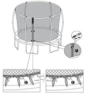 14' Replacement Trampoline Safety Net Fits Walmart Models: TR-146U-FLX, Tr-1686-TPR & 14' Tr-1463a-flex-fz, 5F60753, with 6 Curved/Pole Ring Enclosures (Net Only - Poles & Trampoline NOT Included),