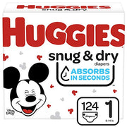 Huggies Snug & Dry Baby Diapers, Size 1, 124 Ct