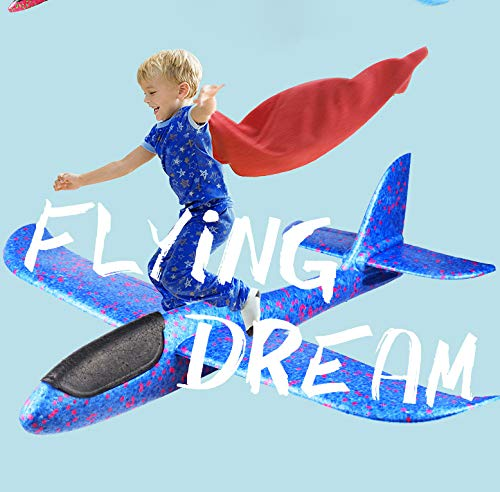 "2 Pack Airplane Toys, 17.5"" Large Throwing Foam Plane, 2 Flight Mode Glider Plane, Flying Toy for Kids, Gifts for 3 4 5 6 7 Year Old Boy, Outdoor Sport Toys Birthday Party Favors Foam Airplane"