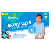 Pampers Easy Ups Training Pants Pull On Disposable Diapers for Boys Size 6, 4T-5T (120 Count), ONE MONTH SUPPLY