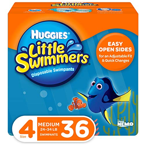 Huggies Little Swimmers Disposable Swim Diapers, Swimpants, Size 4 Medium (24-34 Pound), 36 Count. (Packaging May Vary)