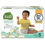 Seventh Generation Baby Diapers for Sensitive Skin, Animal Prints, Size 5, 92 Count (Packaging May Vary)