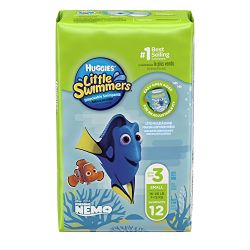 HUGGIES Little Swimmers Disposable Swim Diapers, Size 3 Small, 12 Count