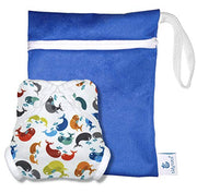 Tidy Tots Baby Swim Diaper Set Reusable Mess Proof Whales Cloth Cover One Size (10-36 lbs) 3pc (Whales)